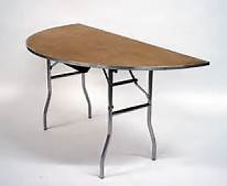 5' Half round plywood top table