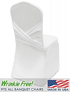 White stretch cover for banquet chairs